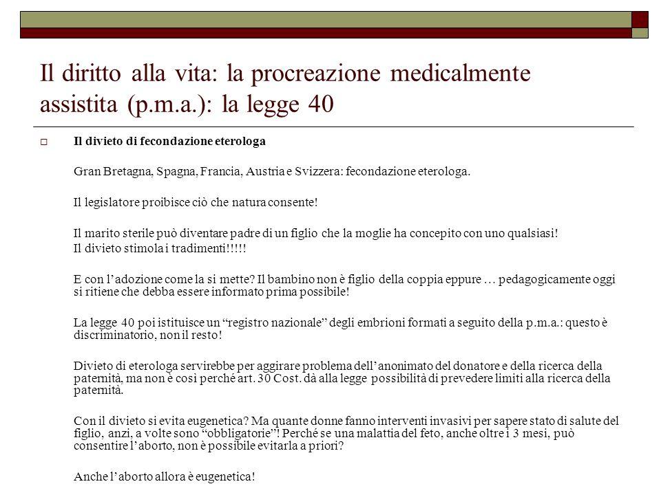 Il diritto alla vita: la procreazione medicalmente assistita (p.m.a.): la legge 40 Il divieto di fecondazione eterologa Gran Bretagna, Spagna, Francia
