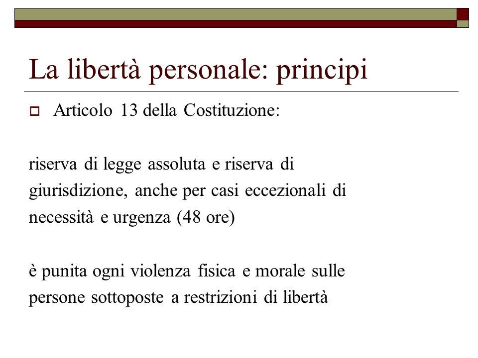 La libertà personale: principi Articolo 13 della Costituzione: riserva di legge assoluta e riserva di giurisdizione, anche per casi eccezionali di nec