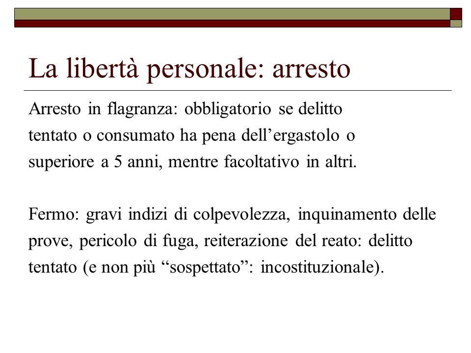 La libertà personale: arresto Arresto in flagranza: obbligatorio se delitto tentato o consumato ha pena dellergastolo o superiore a 5 anni, mentre fac