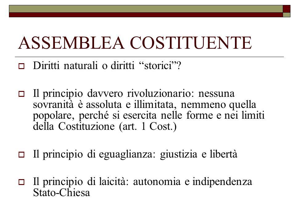 ASSEMBLEA COSTITUENTE Diritti naturali o diritti storici? Il principio davvero rivoluzionario: nessuna sovranità è assoluta e illimitata, nemmeno quel