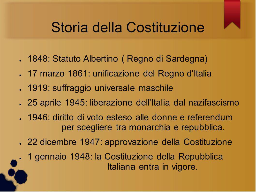 Storia della Costituzione 1848: Statuto Albertino ( Regno di Sardegna) 17 marzo 1861: unificazione del Regno d'Italia 1919: suffraggio universale masc