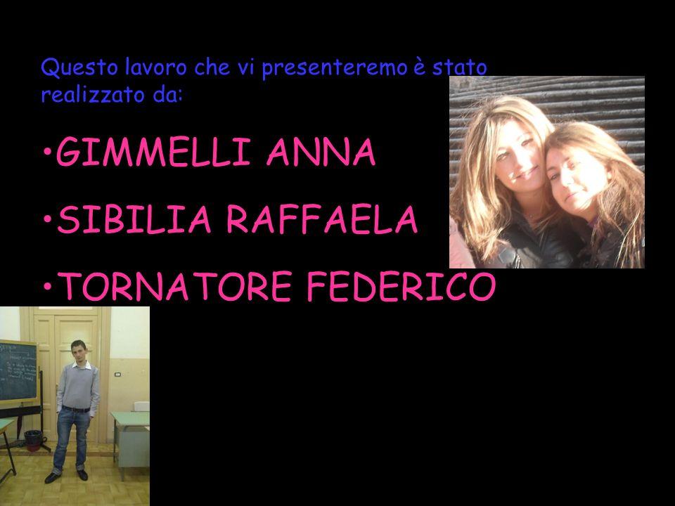 Questo lavoro che vi presenteremo è stato realizzato da: GIMMELLI ANNA SIBILIA RAFFAELA TORNATORE FEDERICO