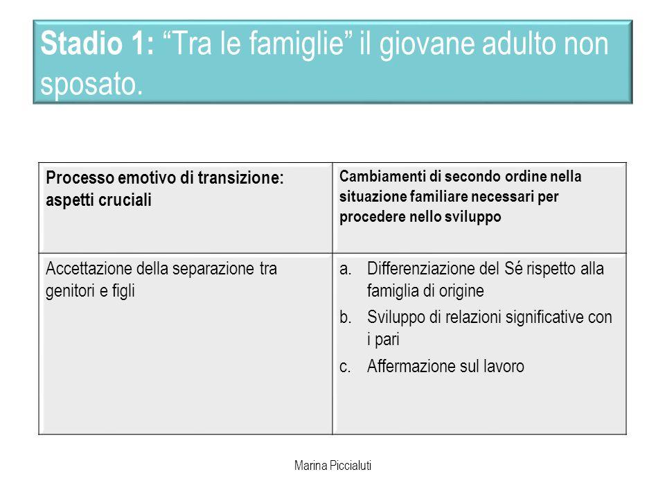 Stadio 1: Tra le famiglie il giovane adulto non sposato. Processo emotivo di transizione: aspetti cruciali Cambiamenti di secondo ordine nella situazi