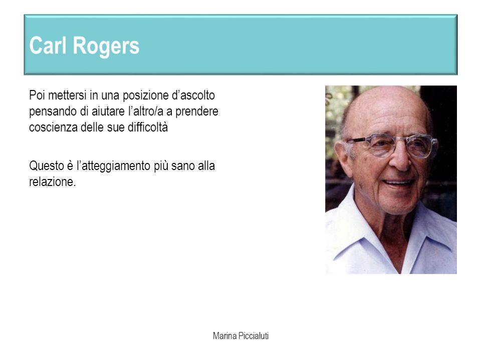 Carl Rogers Poi mettersi in una posizione dascolto pensando di aiutare laltro/a a prendere coscienza delle sue difficoltà Questo è latteggiamento più
