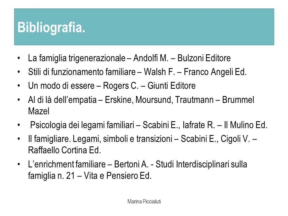 Bibliografia. Marina Piccialuti Bibliografia. La famiglia trigenerazionale – Andolfi M. – Bulzoni Editore Stili di funzionamento familiare – Walsh F.