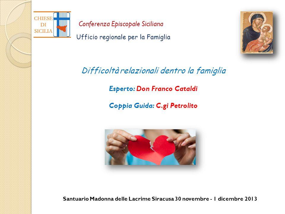 Santuario Madonna delle Lacrime Siracusa 30 novembre - 1 dicembre 2013 Conferenza Episcopale Siciliana Ufficio regionale per la Famiglia Difficoltà re