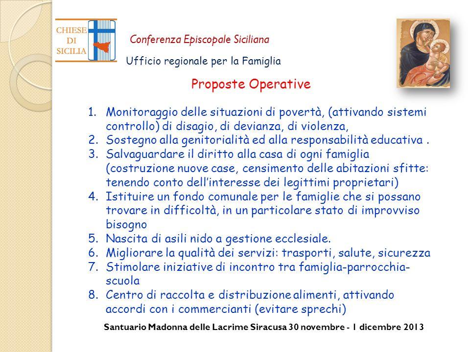 Santuario Madonna delle Lacrime Siracusa 30 novembre - 1 dicembre 2013 Conferenza Episcopale Siciliana Ufficio regionale per la Famiglia 1.Monitoraggi