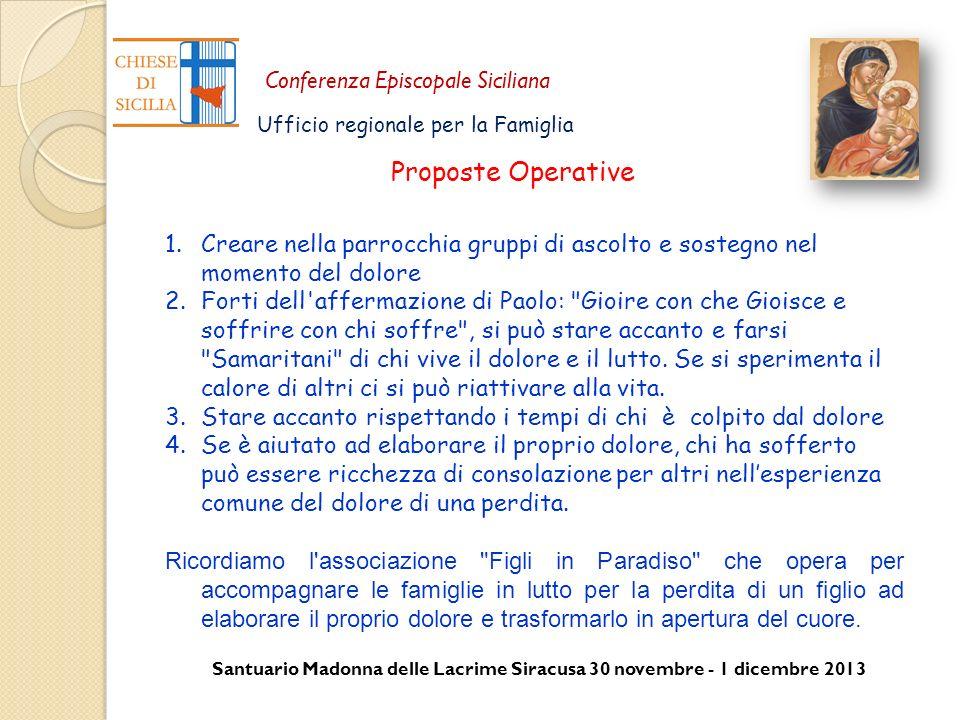 Santuario Madonna delle Lacrime Siracusa 30 novembre - 1 dicembre 2013 Conferenza Episcopale Siciliana Ufficio regionale per la Famiglia 1.Creare nell