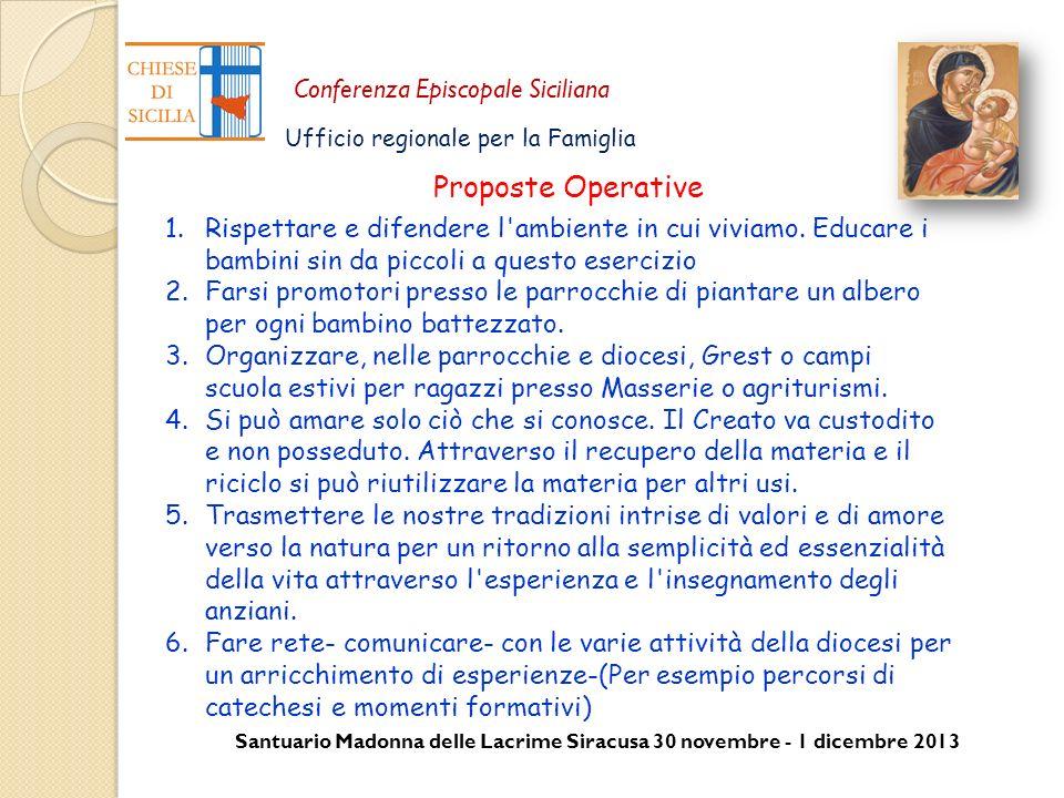 Santuario Madonna delle Lacrime Siracusa 30 novembre - 1 dicembre 2013 Conferenza Episcopale Siciliana Ufficio regionale per la Famiglia 1.Rispettare
