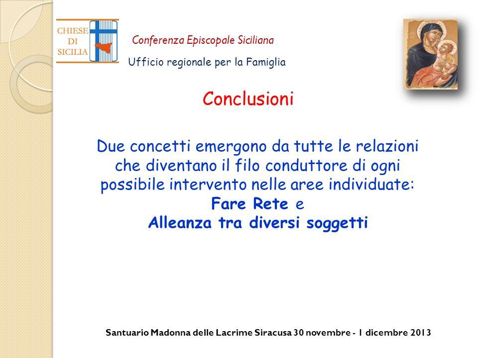 Santuario Madonna delle Lacrime Siracusa 30 novembre - 1 dicembre 2013 Conferenza Episcopale Siciliana Ufficio regionale per la Famiglia Conclusioni D
