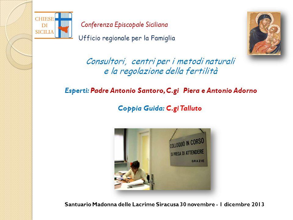 Santuario Madonna delle Lacrime Siracusa 30 novembre - 1 dicembre 2013 Conferenza Episcopale Siciliana Ufficio regionale per la Famiglia Consultori, c