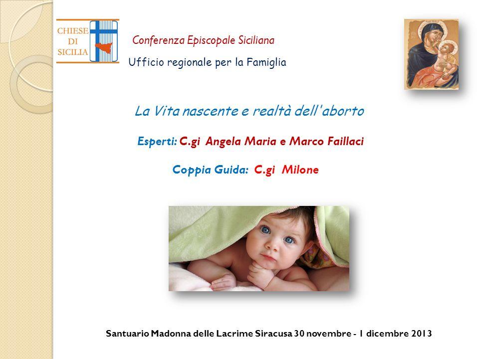 Santuario Madonna delle Lacrime Siracusa 30 novembre - 1 dicembre 2013 Conferenza Episcopale Siciliana Ufficio regionale per la Famiglia La Vita nasce