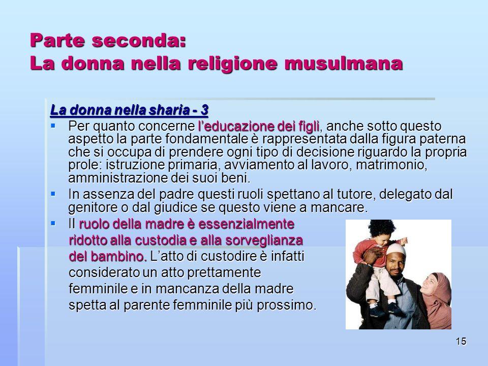 15 Parte seconda: La donna nella religione musulmana La donna nella sharia - 3 Per quanto concerne leducazione dei figli, anche sotto questo aspetto l