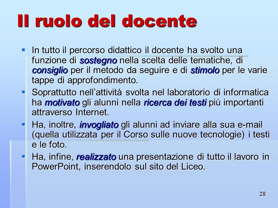 28 Il ruolo del docente In tutto il percorso didattico il docente ha svolto una funzione di sostegno nella scelta delle tematiche, di consiglio per il