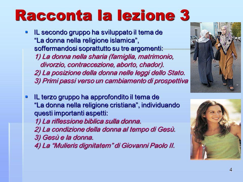 4 Racconta la lezione 3 IL secondo gruppo ha sviluppato il tema de IL secondo gruppo ha sviluppato il tema de La donna nella religione islamica, La do