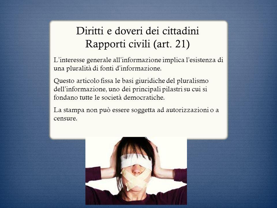 Diritti e doveri dei cittadini Rapporti civili (art. 21) L interesse generale all informazione implica l esistenza di una pluralità di fonti d informa