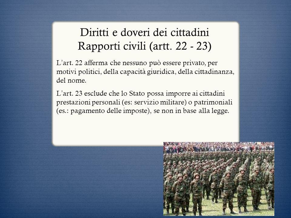 Diritti e doveri dei cittadini Rapporti civili (artt. 22 - 23) L art. 22 afferma che nessuno può essere privato, per motivi politici, della capacità g