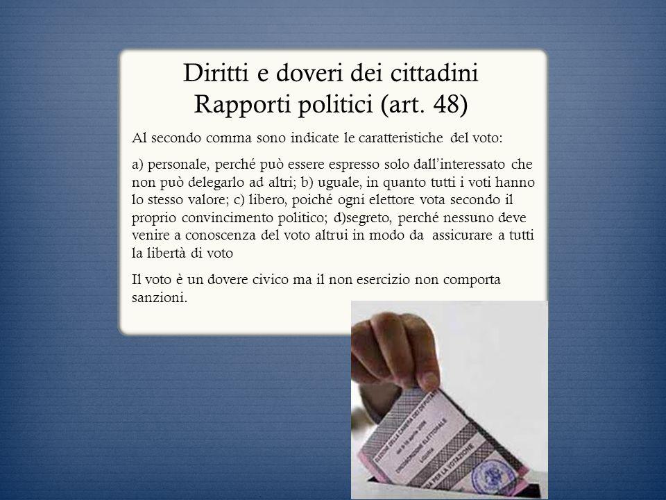 Diritti e doveri dei cittadini Rapporti politici (art. 48) Al secondo comma sono indicate le caratteristiche del voto: a) personale, perché può essere