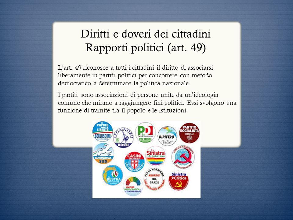 Diritti e doveri dei cittadini Rapporti politici (art. 49) L art. 49 riconosce a tutti i cittadini il diritto di associarsi liberamente in partiti pol