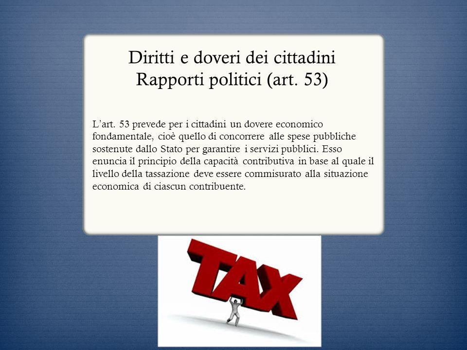 Diritti e doveri dei cittadini Rapporti politici (art. 53) L art. 53 prevede per i cittadini un dovere economico fondamentale, cioè quello di concorre