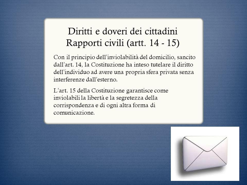 Diritti e doveri dei cittadini Rapporti civili (artt. 14 - 15) Con il principio dell inviolabilità del domicilio, sancito dall art. 14, la Costituzion