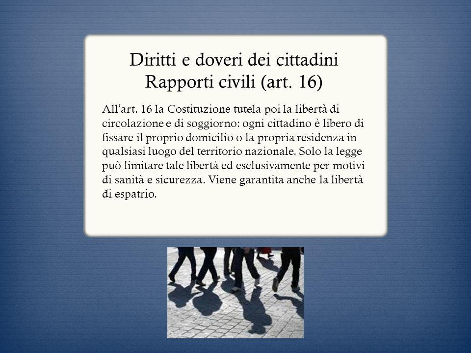 Diritti e doveri dei cittadini Rapporti economici (artt.