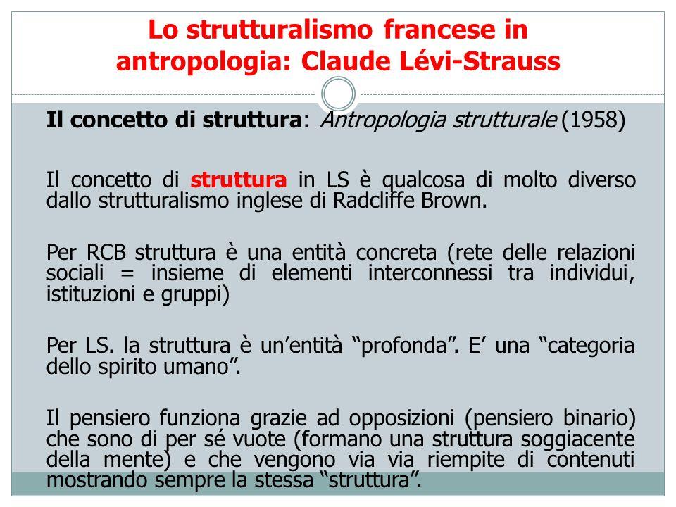 Lo strutturalismo francese in antropologia: Claude Lévi-Strauss Il concetto di struttura: Antropologia strutturale (1958) Il concetto di struttura in