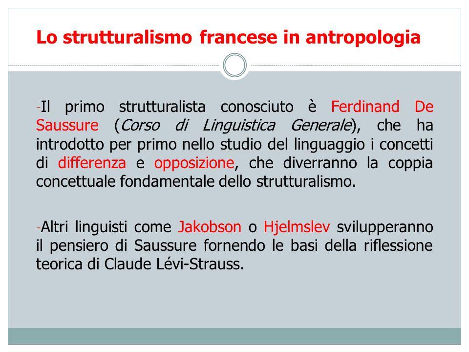 Lo strutturalismo francese in antropologia - Il primo strutturalista conosciuto è Ferdinand De Saussure (Corso di Linguistica Generale), che ha introd