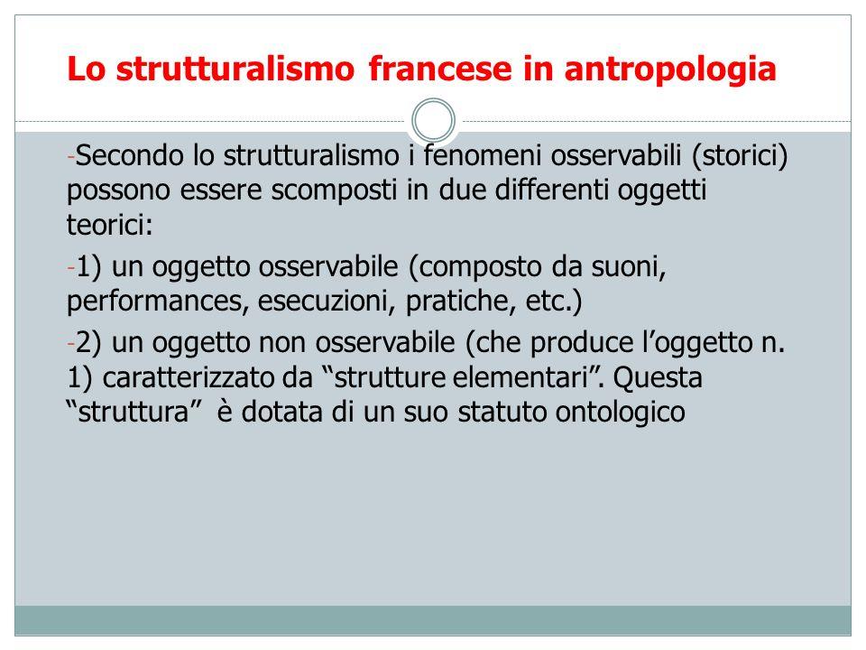 Lo strutturalismo francese in antropologia - Secondo lo strutturalismo i fenomeni osservabili (storici) possono essere scomposti in due differenti ogg