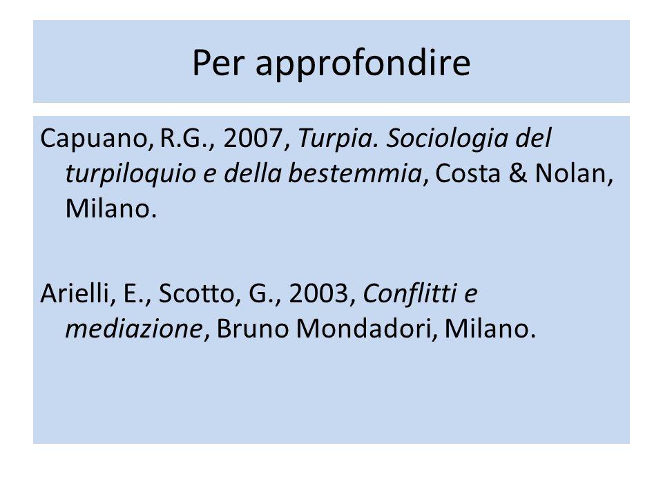 Per approfondire Capuano, R.G., 2007, Turpia. Sociologia del turpiloquio e della bestemmia, Costa & Nolan, Milano. Arielli, E., Scotto, G., 2003, Conf