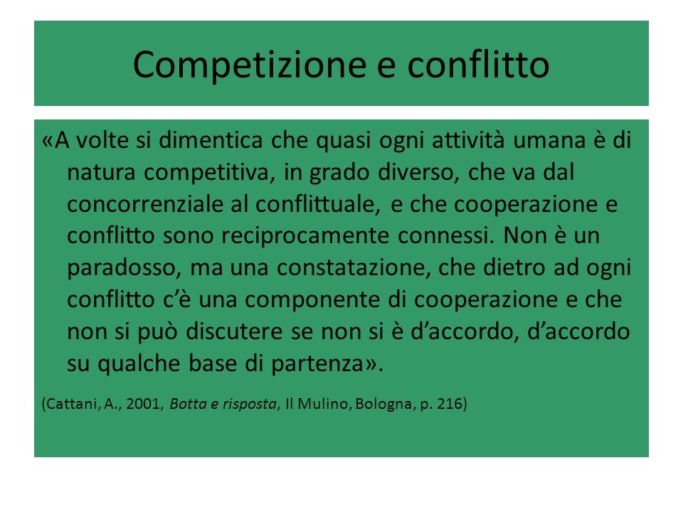 Competizione e conflitto «A volte si dimentica che quasi ogni attività umana è di natura competitiva, in grado diverso, che va dal concorrenziale al conflittuale, e che cooperazione e conflitto sono reciprocamente connessi.