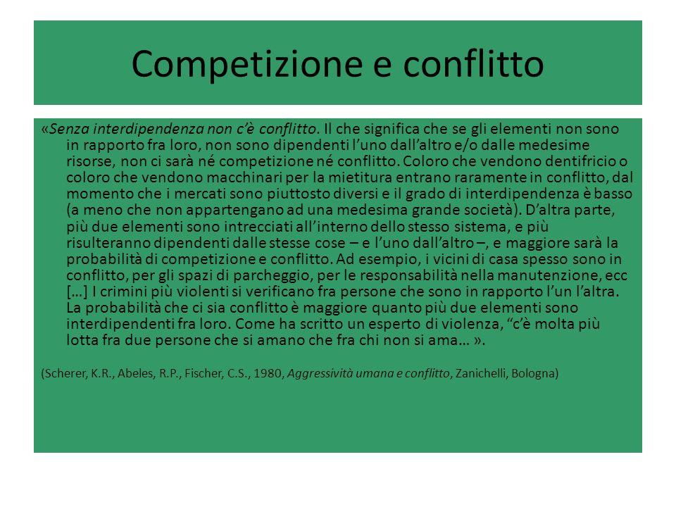 Competizione e conflitto «Senza interdipendenza non cè conflitto. Il che significa che se gli elementi non sono in rapporto fra loro, non sono dipende