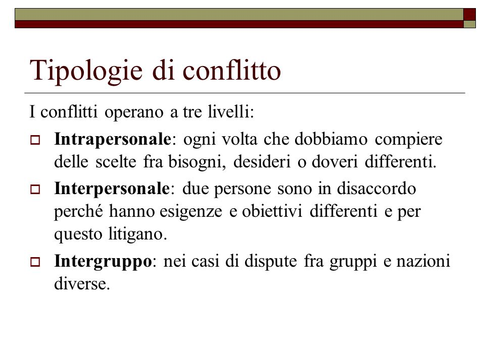 Tipologie di conflitto I conflitti operano a tre livelli: Intrapersonale: ogni volta che dobbiamo compiere delle scelte fra bisogni, desideri o doveri differenti.