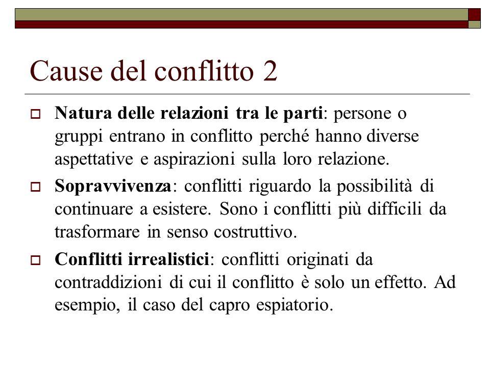 Cause del conflitto 2 Natura delle relazioni tra le parti: persone o gruppi entrano in conflitto perché hanno diverse aspettative e aspirazioni sulla
