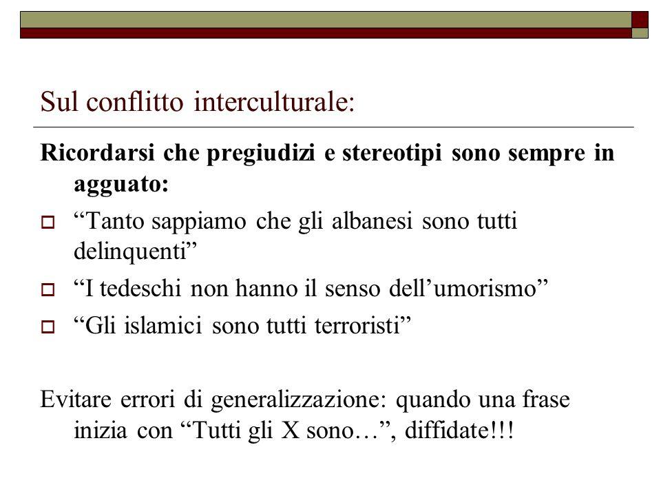 Sul conflitto interculturale: Ricordarsi che pregiudizi e stereotipi sono sempre in agguato: Tanto sappiamo che gli albanesi sono tutti delinquenti I