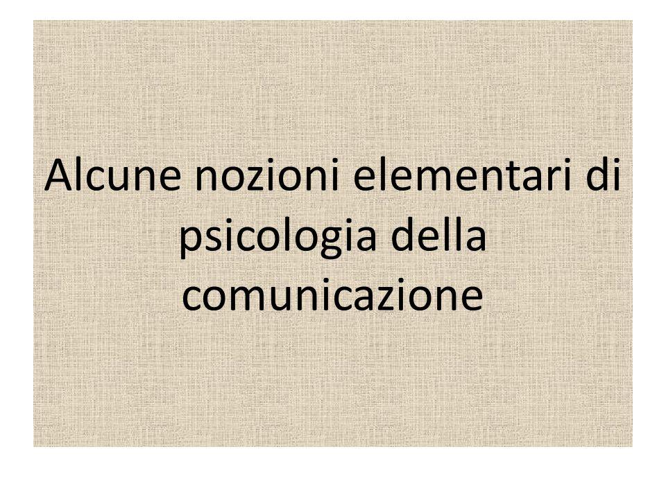 Alcune nozioni elementari di psicologia della comunicazione