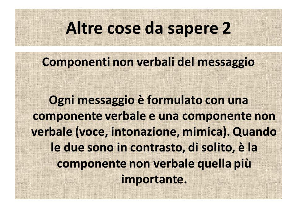 Altre cose da sapere 2 Componenti non verbali del messaggio Ogni messaggio è formulato con una componente verbale e una componente non verbale (voce, intonazione, mimica).