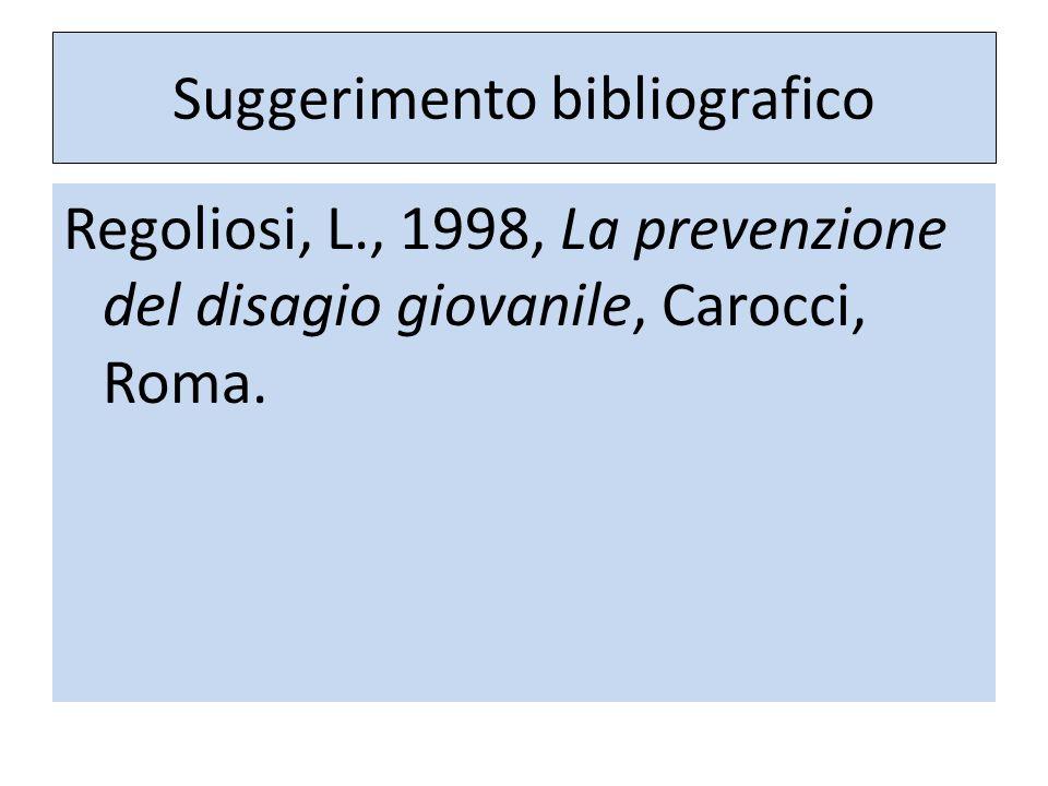 Suggerimento bibliografico Regoliosi, L., 1998, La prevenzione del disagio giovanile, Carocci, Roma.