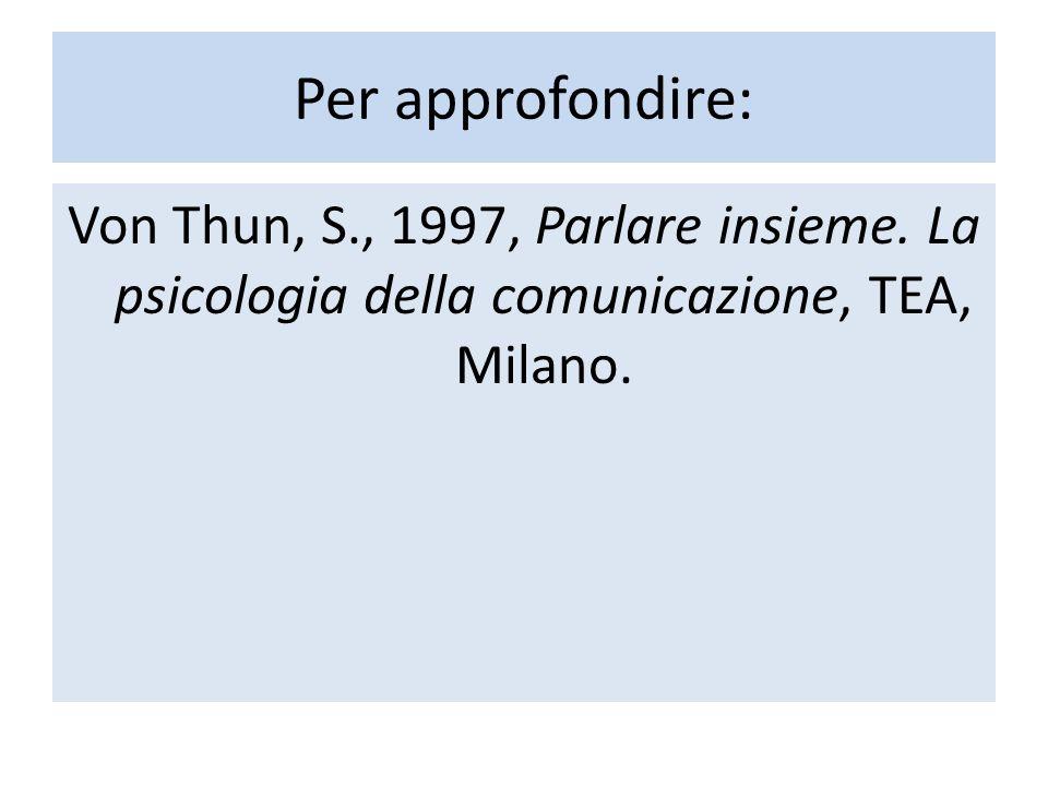 Per approfondire: Von Thun, S., 1997, Parlare insieme. La psicologia della comunicazione, TEA, Milano.