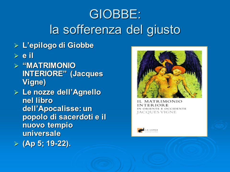 GIOBBE: la sofferenza del giusto Lepilogo di Giobbe Lepilogo di Giobbe e il e il MATRIMONIO INTERIORE (Jacques Vigne) MATRIMONIO INTERIORE (Jacques Vi