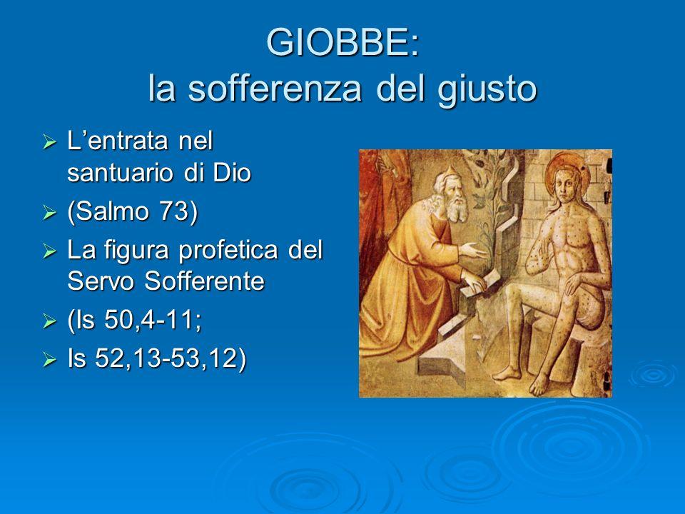 GIOBBE: la sofferenza del giusto Lentrata nel santuario di Dio Lentrata nel santuario di Dio (Salmo 73) (Salmo 73) La figura profetica del Servo Soffe