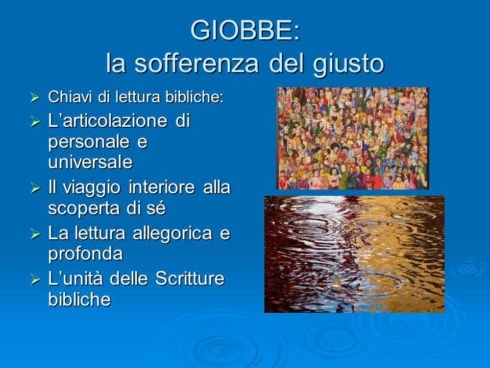 GIOBBE: la sofferenza del giusto Chiavi di lettura bibliche: Chiavi di lettura bibliche: Larticolazione di personale e universale Larticolazione di pe