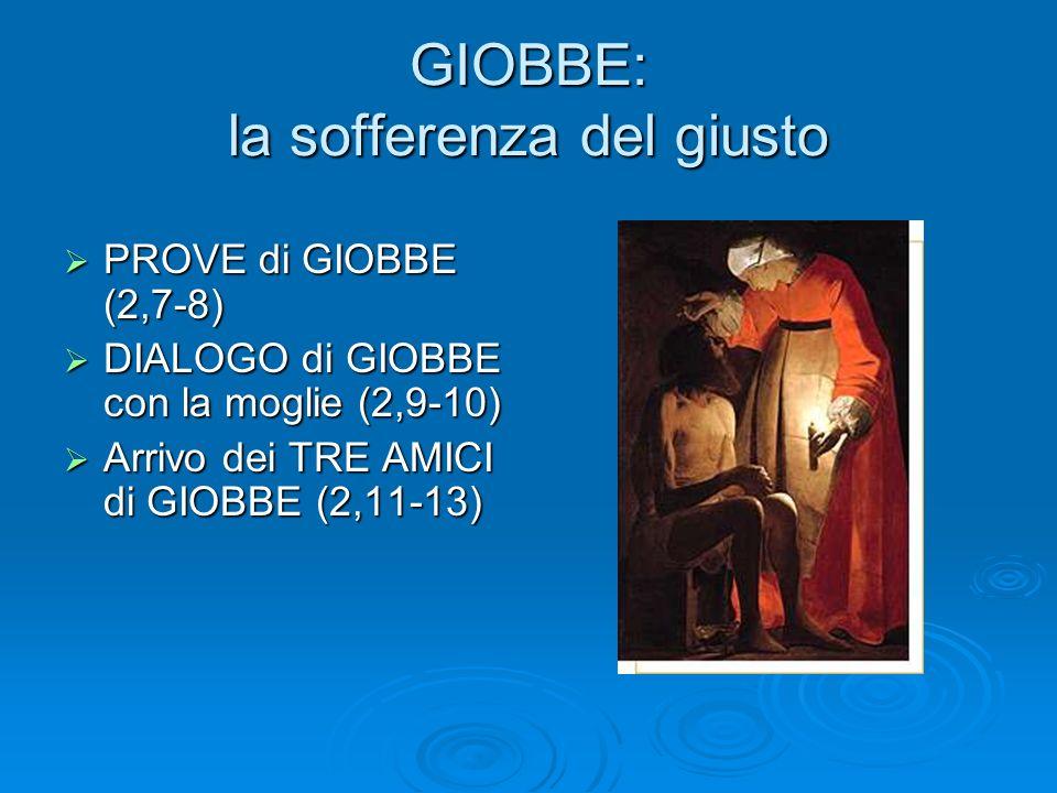 GIOBBE: la sofferenza del giusto PROVE di GIOBBE (2,7-8) PROVE di GIOBBE (2,7-8) DIALOGO di GIOBBE con la moglie (2,9-10) DIALOGO di GIOBBE con la mog