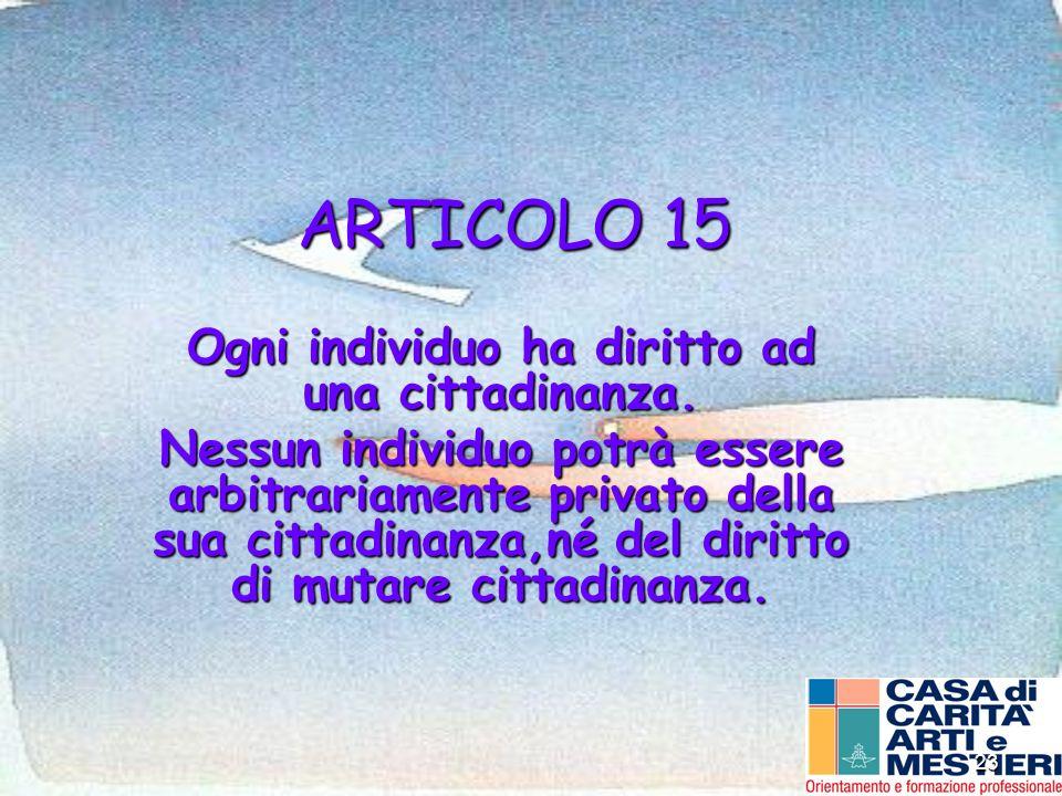 23 ARTICOLO 15 Ogni individuo ha diritto ad una cittadinanza. Nessun individuo potrà essere arbitrariamente privato della sua cittadinanza,né del diri