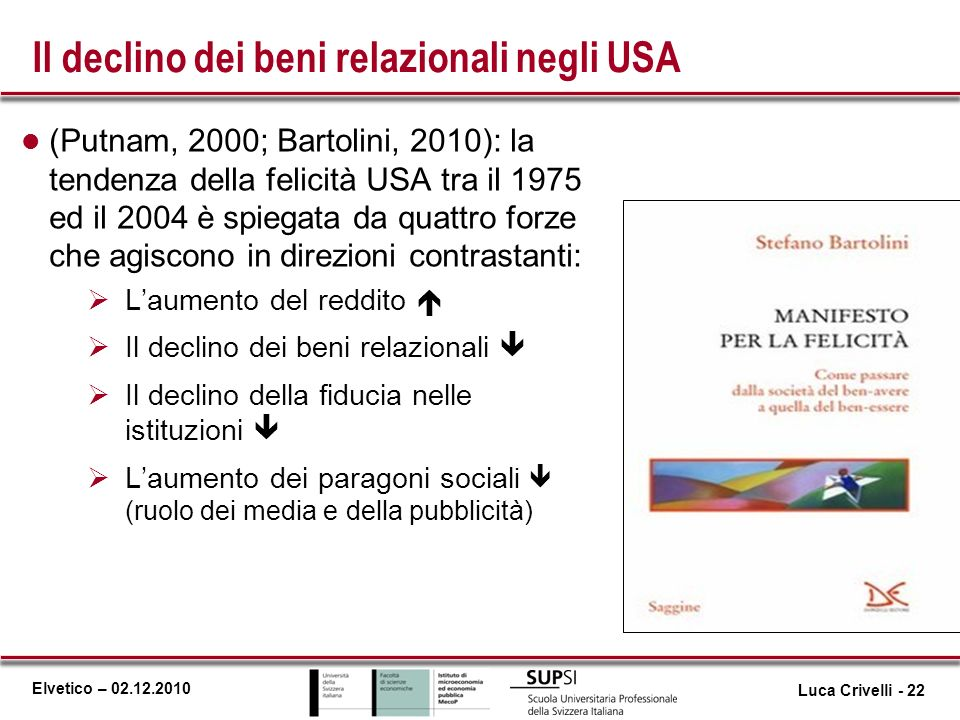 Elvetico – 02.12.2010 Il declino dei beni relazionali negli USA l (Putnam, 2000; Bartolini, 2010): la tendenza della felicità USA tra il 1975 ed il 20
