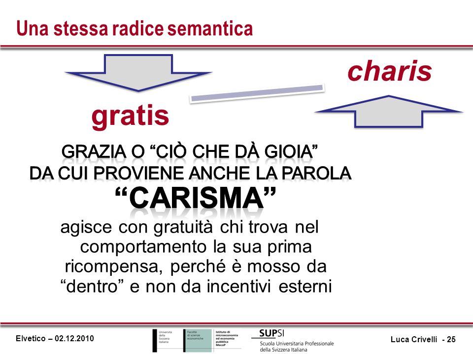 Elvetico – 02.12.2010 gratis charis Una stessa radice semantica Luca Crivelli - 25