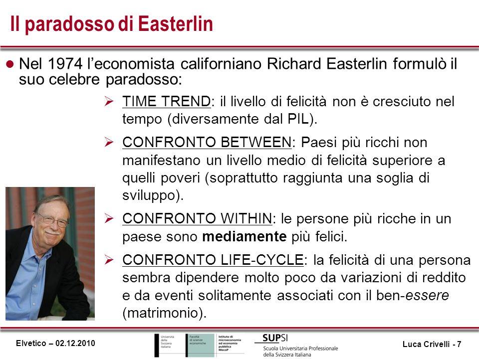 Elvetico – 02.12.2010 Il paradosso di Easterlin l Nel 1974 leconomista californiano Richard Easterlin formulò il suo celebre paradosso: TIME TREND: il