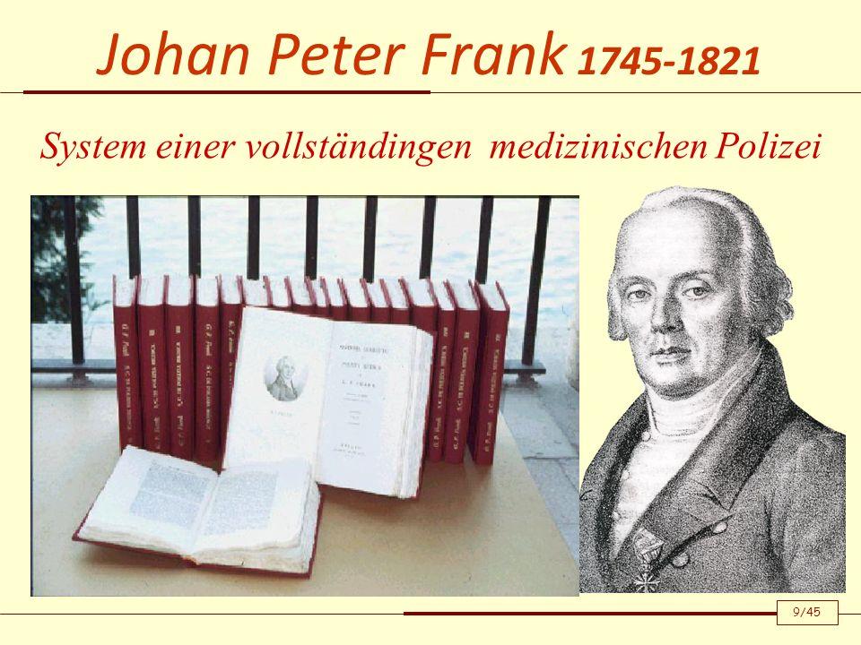 Johan Peter Frank 1745-1821 System einer vollständingen medizinischen Polizei 9/45