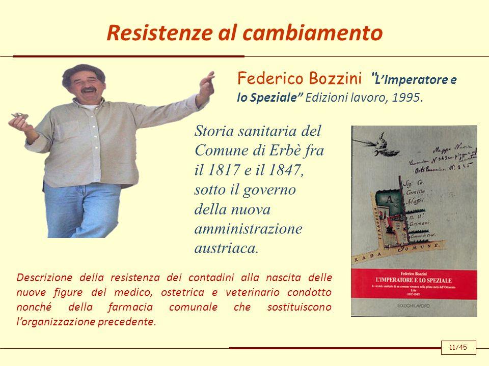 Resistenze al cambiamento Federico Bozzini LImperatore e lo Speziale Edizioni lavoro, 1995. Descrizione della resistenza dei contadini alla nascita de
