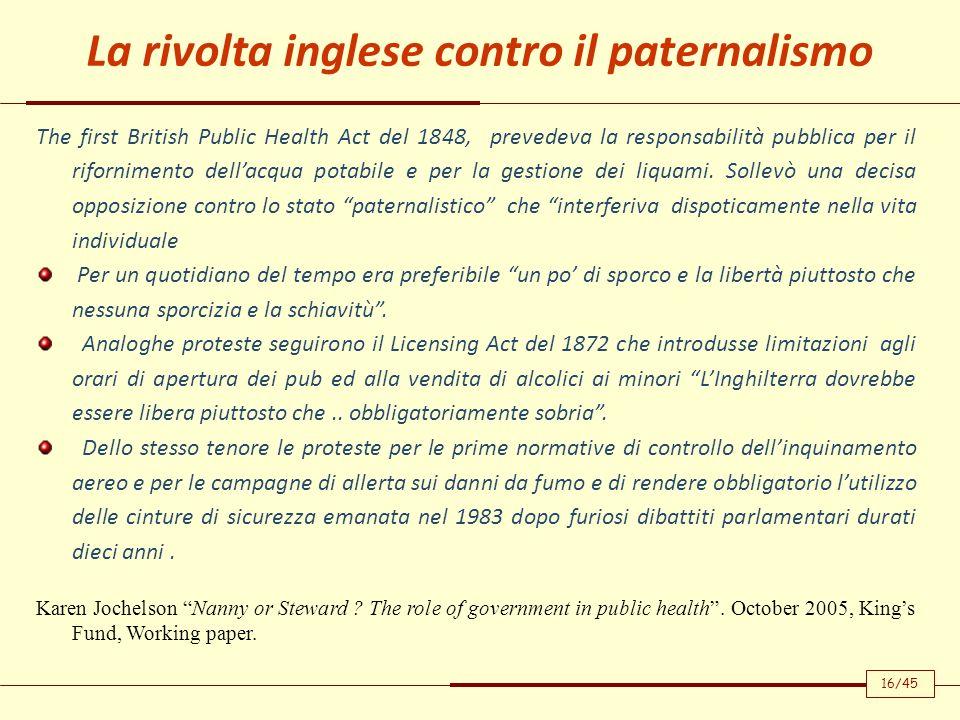 The first British Public Health Act del 1848, prevedeva la responsabilità pubblica per il rifornimento dellacqua potabile e per la gestione dei liquam